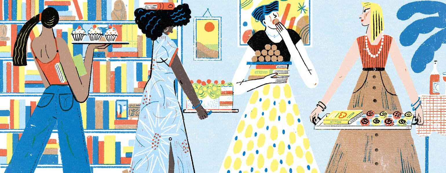illustration of women at a book club carrying dessert trays