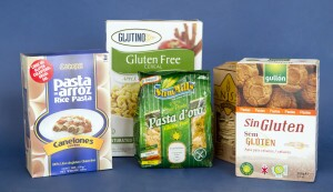 Gluten Free certified products including: Bare Fruit Granny Smith Green Apple Bites, NNOVA Pasta Rice Canelloni, Glutino Apple and Cinamon Gluten Free Cereal, Lays Stax Gluten Free Potato crisps, Sanissimo Thin Gluten Free Baked Tostadas, Sam Mills Gluten Free Corn Pasta in Shell Variety and Gullon Gluten Free Celiac Certified Vanilla Cookies.